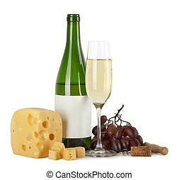 Bottle and glass of white wine with cheese