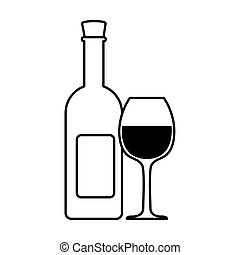 bottle and glass of wine on white background