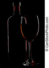 Bottle And Glass - A bottle and glass of wine are outlined...