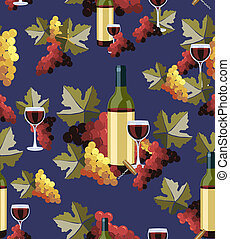 Bottle and glass wine seamless pattern