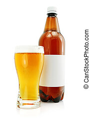 Bottle and glass with beer drink isolated