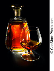 cognac on a black
