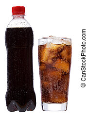 bottle and glass with cola