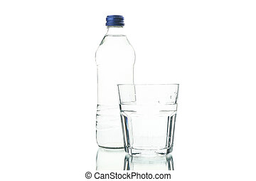 Bottle and glass with water isolated on white background