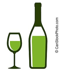 bottle and glass with white wine