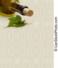 bottle and grape leaf - textured background with wine bottle...