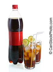 Bottle and two glasses of cola - A bottle of cola placed...