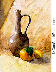 Bottle and two oranges - Still life painting in watercolor