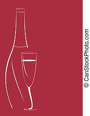 bottle and wine glass - stylized vector illustration of...