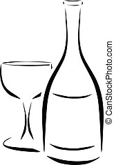 bottle and wineglass. vector illustration