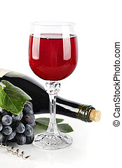 wineglass with red grape wine