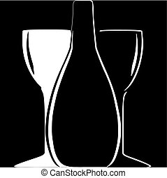 bottle and wineglasses silhouettes