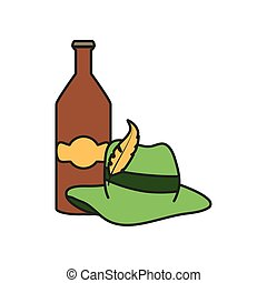 bottle beer and tyrolean hat oktoberfest festival vector...