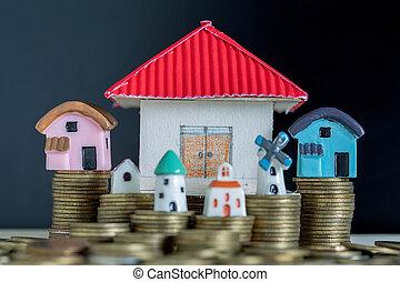 bottle., begrepp, besparing, hus, glas, köpa, pengar, hem