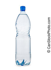 bottle blue with water isolated on a white background