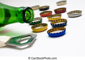 bottle, bottle-opener and caps