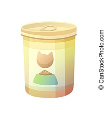 Bottle Can with Cat Image Vector Illustration