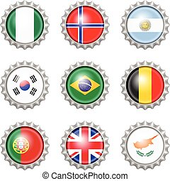 Bottle cap national flags