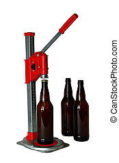Bottle Cap Press and Bottles for Homebrew Beer - A benchtop...