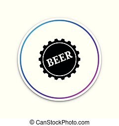 Bottle cap with beer word icon isolated on white background. Circle white button. Vector Illustration