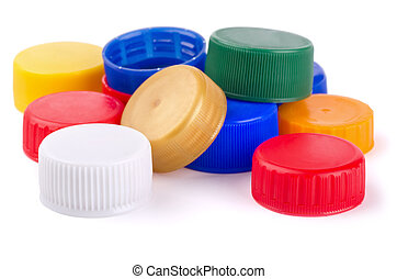 Bottle caps - Plastic bottle screw caps isolated on white