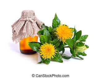 bottle., carthame, huile, plante