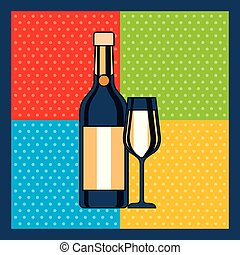 bottle champagne and glass celebration colors background