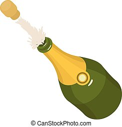 Bottle champagne icon. Isometric illustration of bottle champagne vector icon for web
