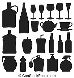 Bottle collection - vector silhouette