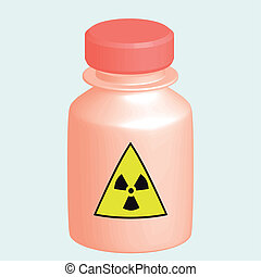 Bottle danger - Vector image of a red bottle with the label ...