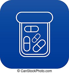 Bottle drug icon blue vector