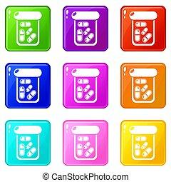 Bottle drug icons set 9 color collection