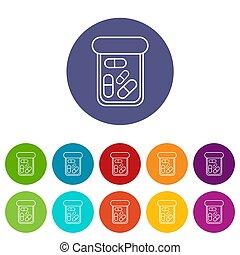 Bottle drug icons set color