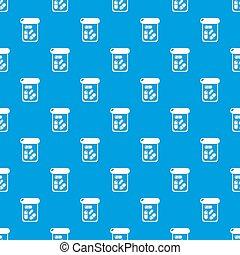 Bottle drug pattern seamless blue