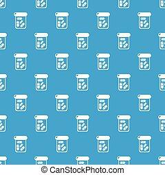 Bottle drug pattern vector seamless blue