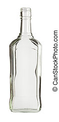 Bottle - Empty colorless glass bottle, isolated.
