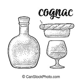 Bottle, glass, cigar and ashtray. Handwriting lettering cognac. Vintage engraving