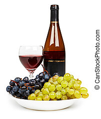 Bottle, glass with red wine and grapes