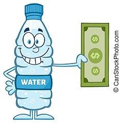 Bottle Holding A Dollar Bill