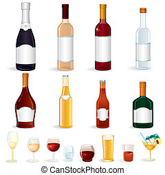Different glass Bottles with Alcoholic Drinks, vector clip art