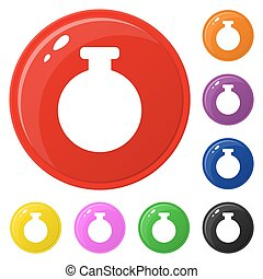 Bottle icons set 8 colors isolated on white. Collection of glossy round colorful buttons. Vector illustration for any design.