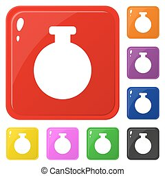 Bottle icons set 8 colors isolated on white. Collection of glossy square colorful buttons. Vector illustration for any design.