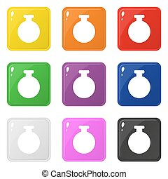 Bottle icons set 9 colors isolated on white. Collection of glossy round colorful buttons. Vector illustration for any design.