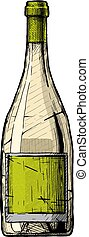 bottle., ilustración, vino