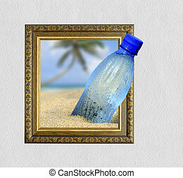 Bottle in frame with 3d effect