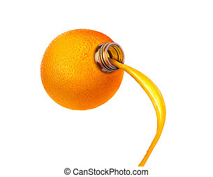 bottle in the form of orange isolated on white background