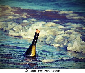 bottle in the sea with a secret message