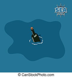 Bottle in water in isometric style. Pirate game