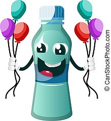 Bottle is holding balloons, illustration, vector on white background.