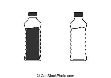 Bottle line icon set in trendy flat design. Vector